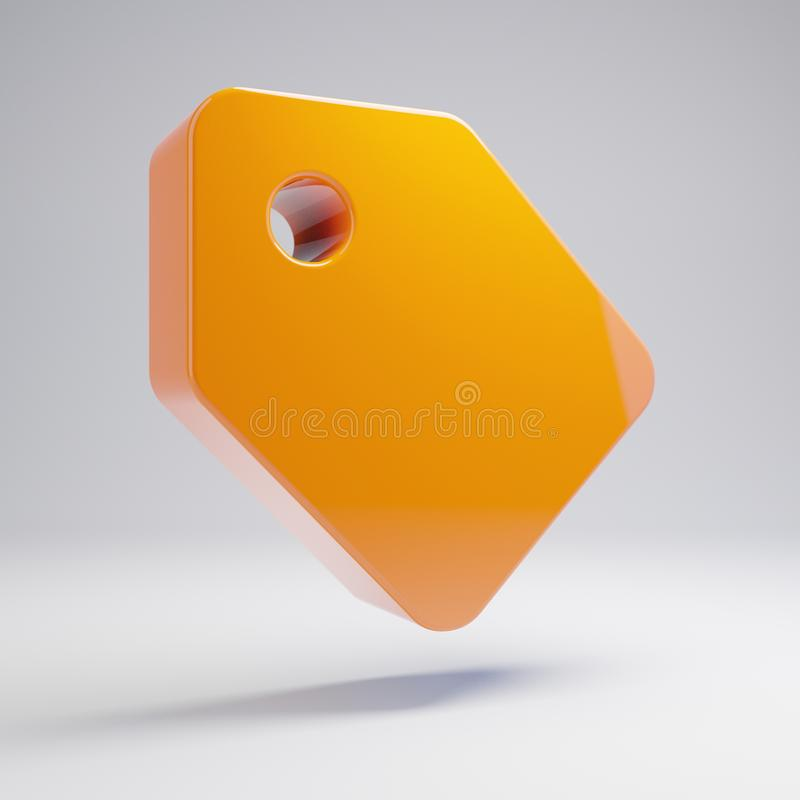 Volumetric glossy hot orange tag icon isolated on white background. 3D rendered digital symbol. Modern icon for website, internet marketing, presentation, logo stock illustration