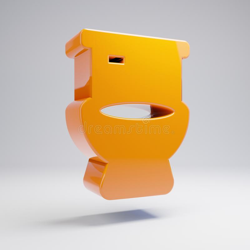 Volumetric glossy hot orange toilet icon isolated on white background. 3D rendered digital symbol. Modern icon for website, internet marketing, presentation stock illustration