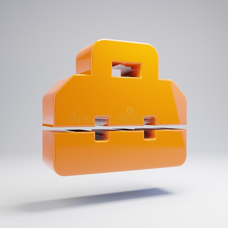 Volumetric glossy hot orange toolbox icon isolated on white background. 3D rendered digital symbol. Modern icon for website, internet marketing, presentation royalty free illustration