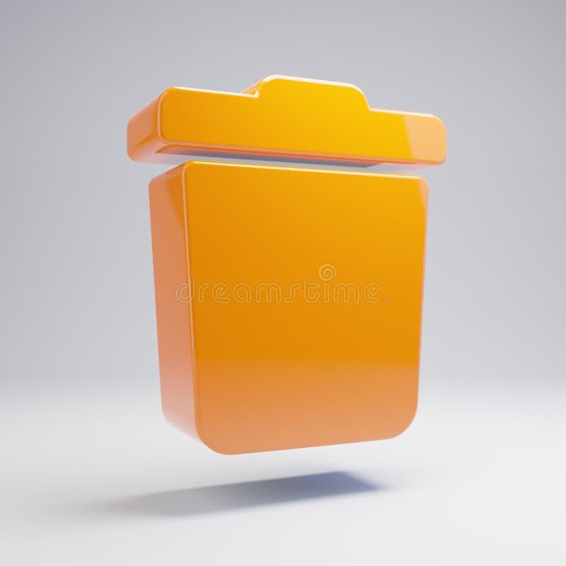 Volumetric glossy hot orange trash icon isolated on white background. 3D rendered digital symbol. Modern icon for website, internet marketing, presentation royalty free illustration