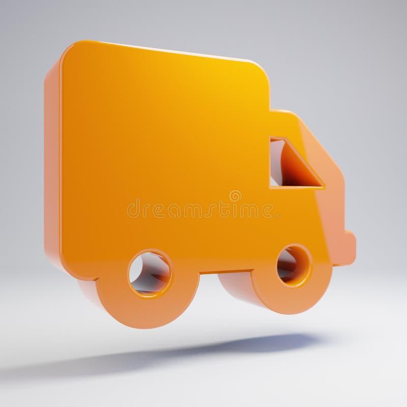 Volumetric glossy hot orange truck icon isolated on white background. 3D rendered digital symbol. Modern icon for website, internet marketing, presentation vector illustration