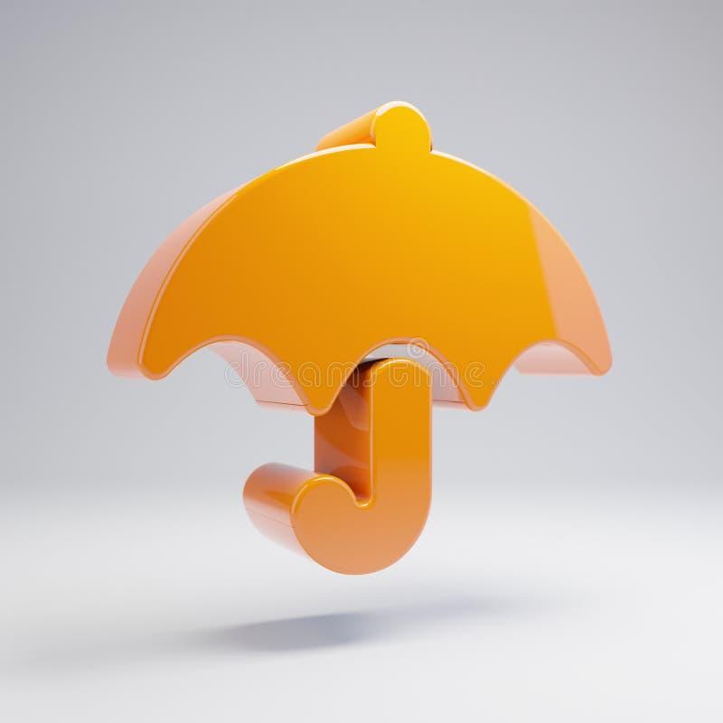 Volumetric glossy hot orange umbrella icon isolated on white background. 3D rendered digital symbol. Modern icon for website, internet marketing, presentation royalty free illustration