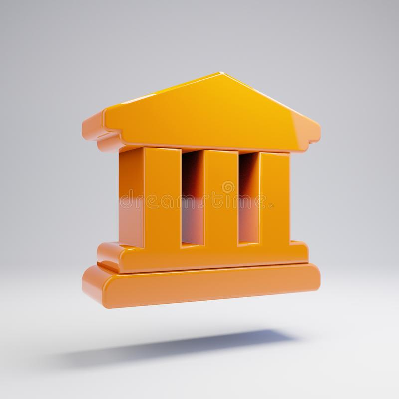 Volumetric glossy hot orange university icon isolated on white background. 3D rendered digital symbol. Modern icon for website, internet marketing stock illustration