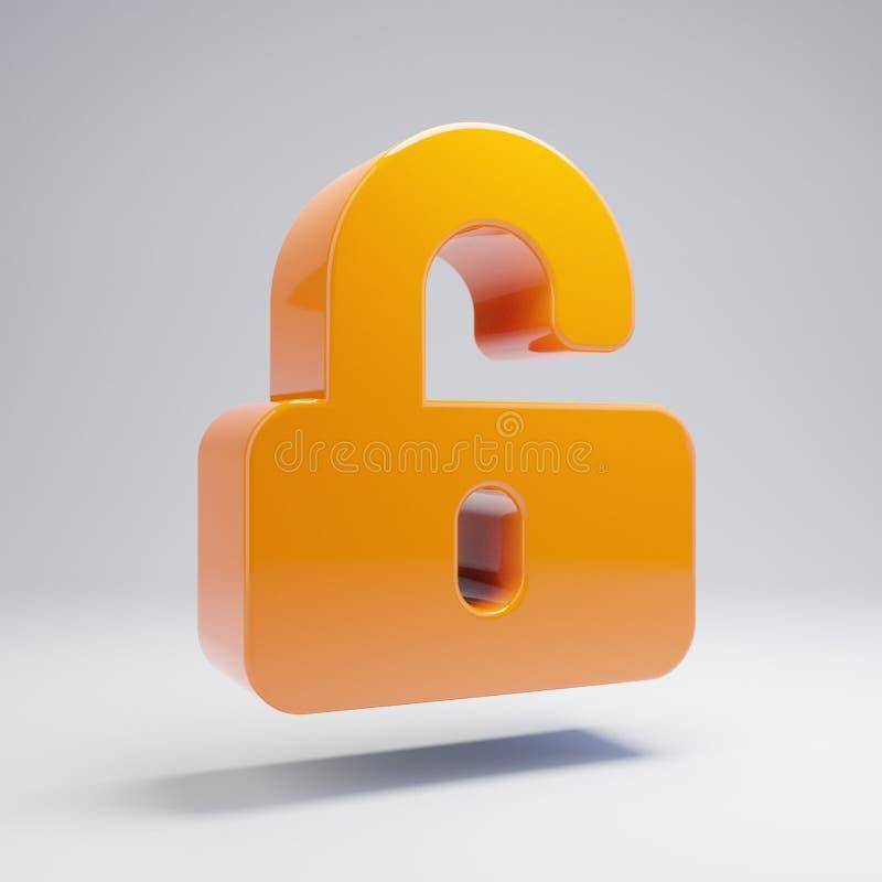 Volumetric glossy hot orange unlock icon isolated on white background. 3D rendered digital symbol. Modern icon for website, internet marketing, presentation vector illustration