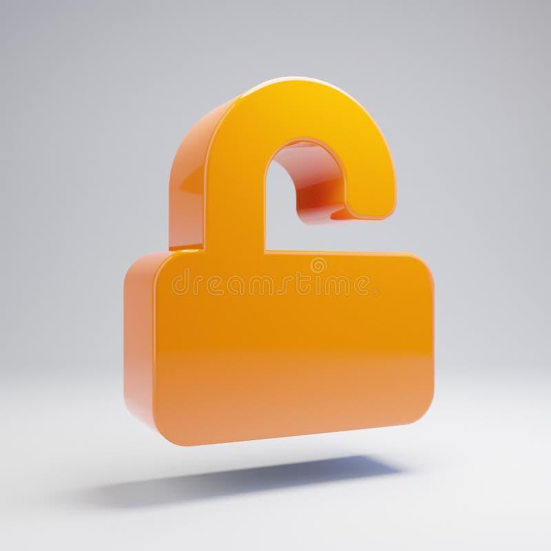 Volumetric glossy hot orange unlock icon isolated on white background. 3D rendered digital symbol. Modern icon for website, internet marketing, presentation royalty free illustration