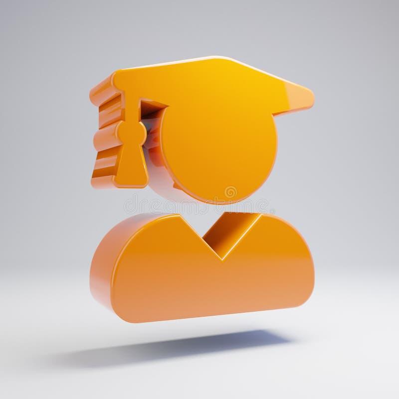 Volumetric glossy hot orange user graduate icon isolated on white background. 3D rendered digital symbol. Modern icon for website, internet marketing royalty free illustration
