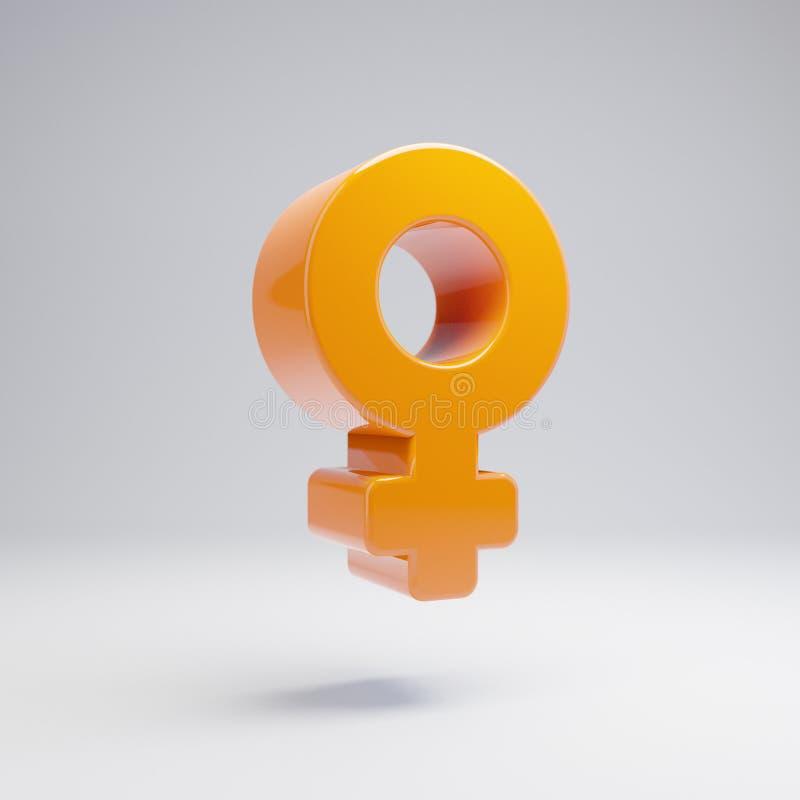 Volumetric glossy hot orange venus icon isolated on white background. 3D rendered digital symbol. Modern icon for website, internet marketing, presentation vector illustration