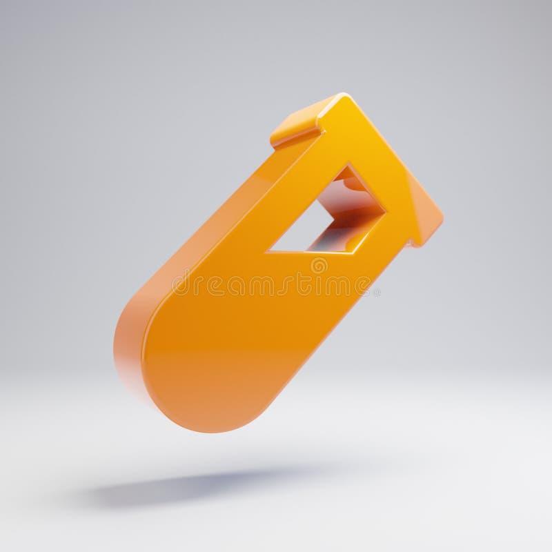 Volumetric glossy hot orange vial icon isolated on white background. 3D rendered digital symbol. Modern icon for website, internet marketing, presentation stock illustration