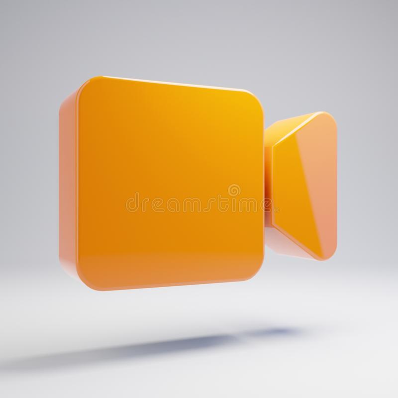 Volumetric glossy hot orange video icon isolated on white background. 3D rendered digital symbol. Modern icon for website, internet marketing, presentation vector illustration