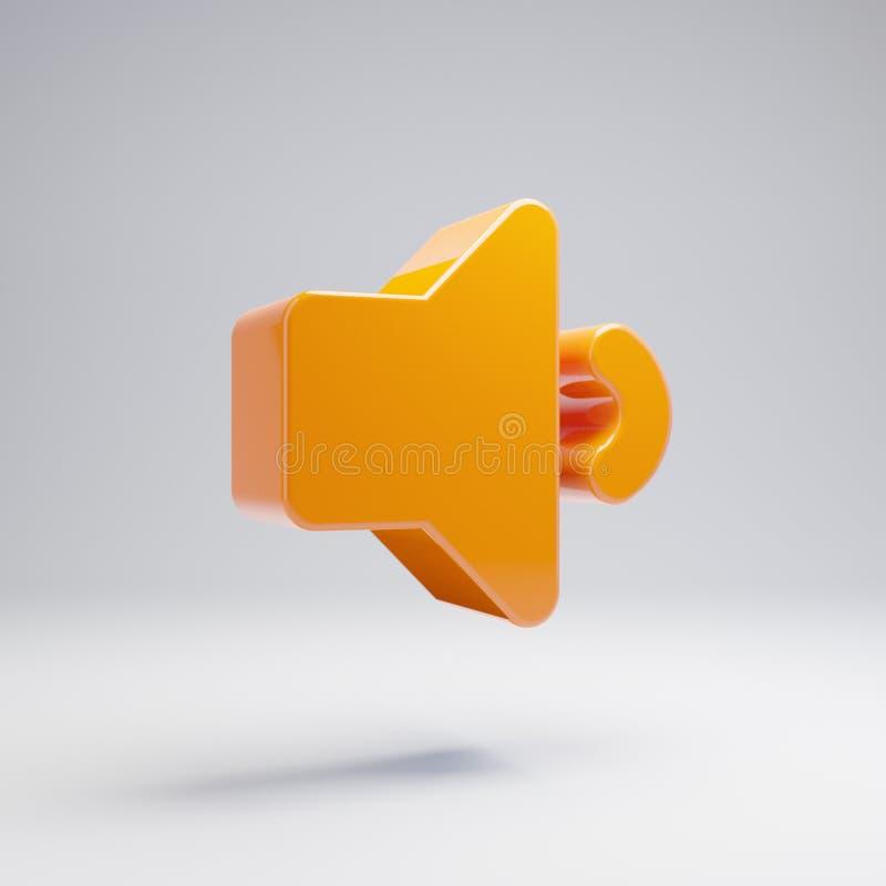 Volumetric glossy hot orange volume down icon isolated on white background. 3D rendered digital symbol. Modern icon for website, internet marketing vector illustration