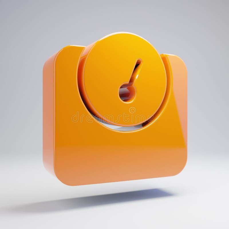 Volumetric glossy hot orange weight icon isolated on white background. 3D rendered digital symbol. Modern icon for website, internet marketing, presentation royalty free illustration