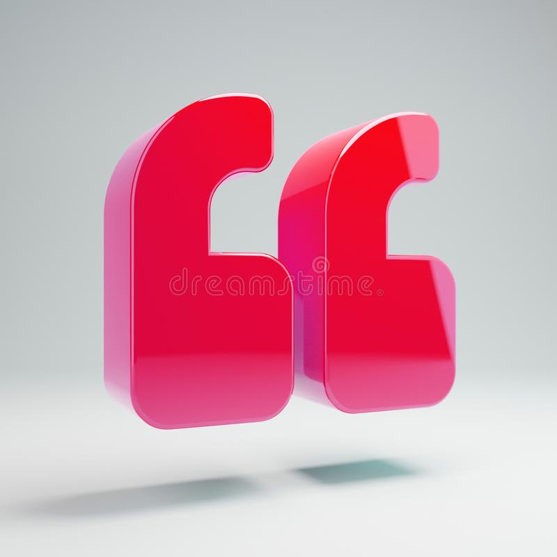 Volumetric glossy hot pink Double Quotes icon isolated on white background. 3D rendered digital symbol. Modern icon for website, internet marketing stock illustration