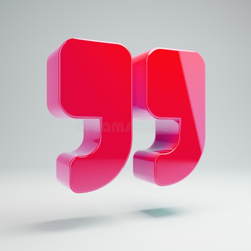 Volumetric glossy hot pink Double Quotes icon isolated on white background. 3D rendered digital symbol. Modern icon for website, internet marketing royalty free illustration