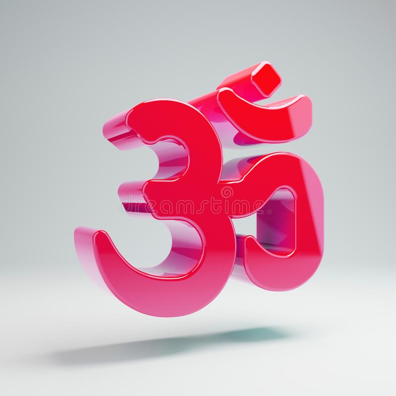 Volumetric glossy hot pink Om icon isolated on white background. 3D rendered digital symbol. Modern icon for website, internet marketing, presentation, logo royalty free illustration