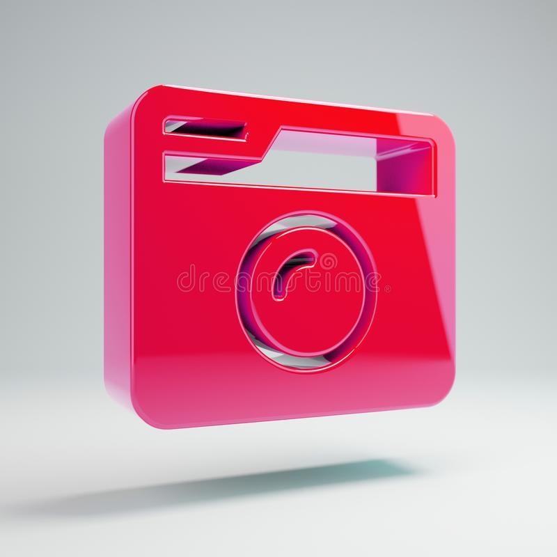 Volumetric glossy hot pink Retro Photo Camera icon isolated on white background. 3D rendered digital symbol. Modern icon for website, internet marketing vector illustration