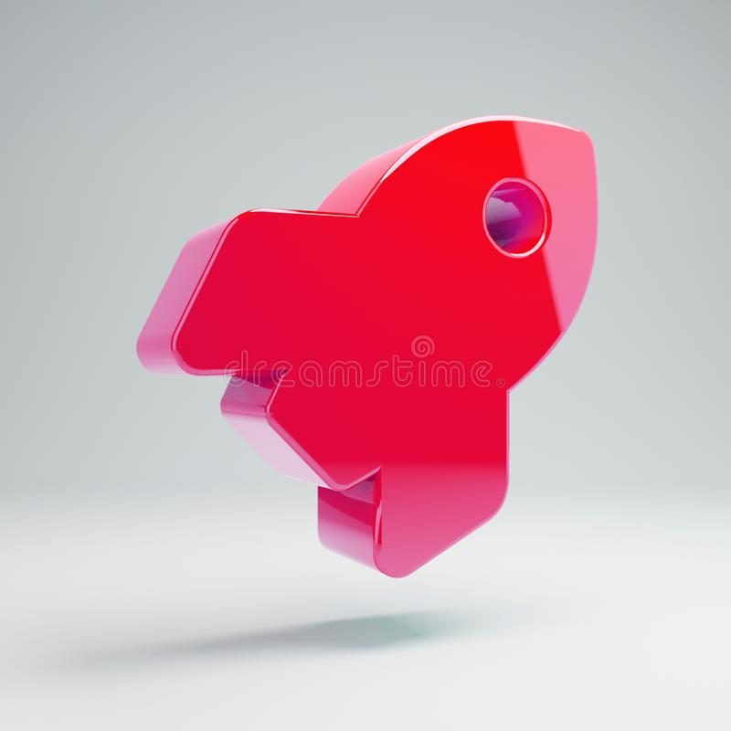 Volumetric glossy hot pink Rocket icon isolated on white background. 3D rendered digital symbol. Modern icon for website, internet marketing, presentation vector illustration