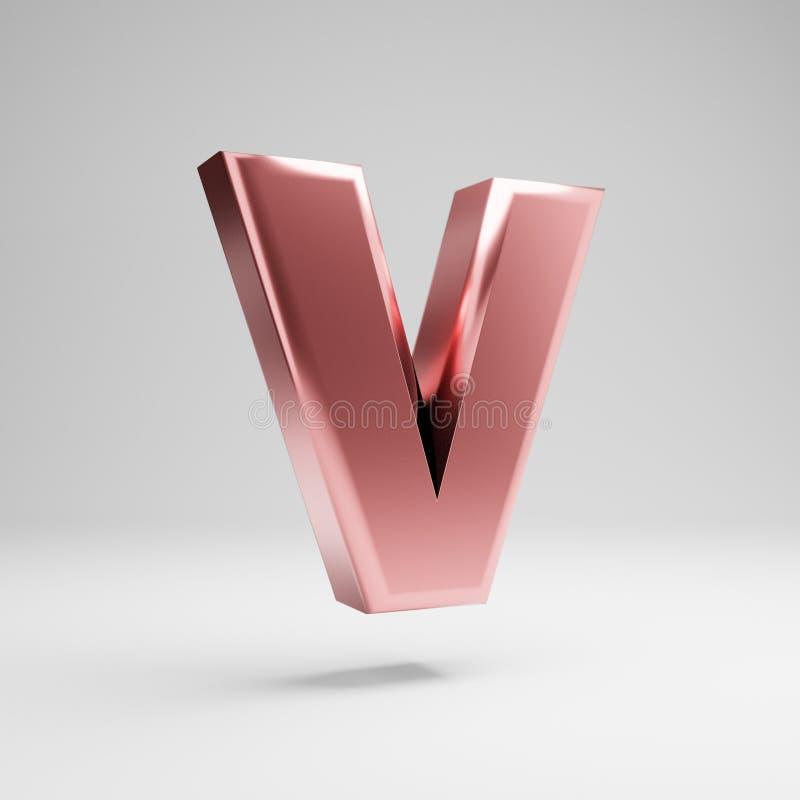 Volumetric glossy Rose Gold uppercase letter V isolated on white background stock illustration