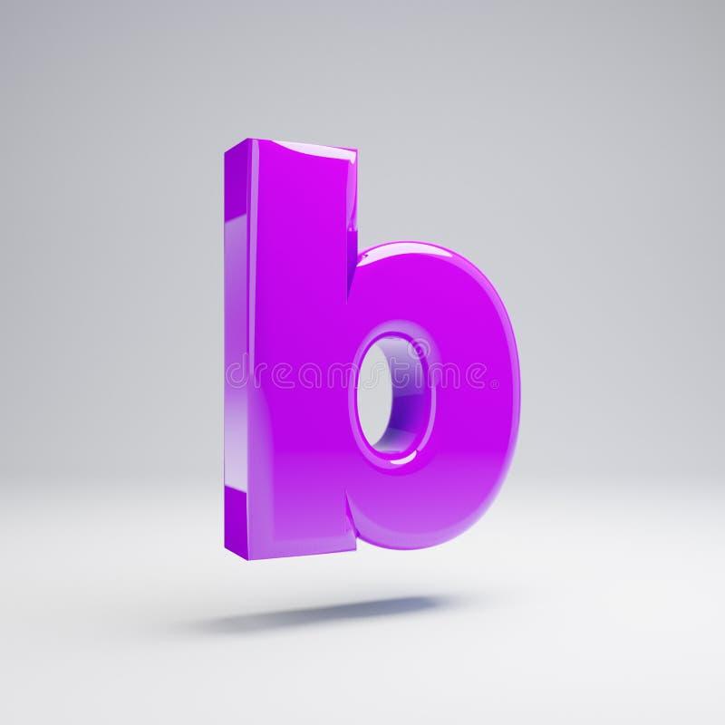 Volumetric glossy violet lowercase letter B isolated on white background. 3D rendered alphabet. Modern font for banner, poster, cover, logo design template vector illustration