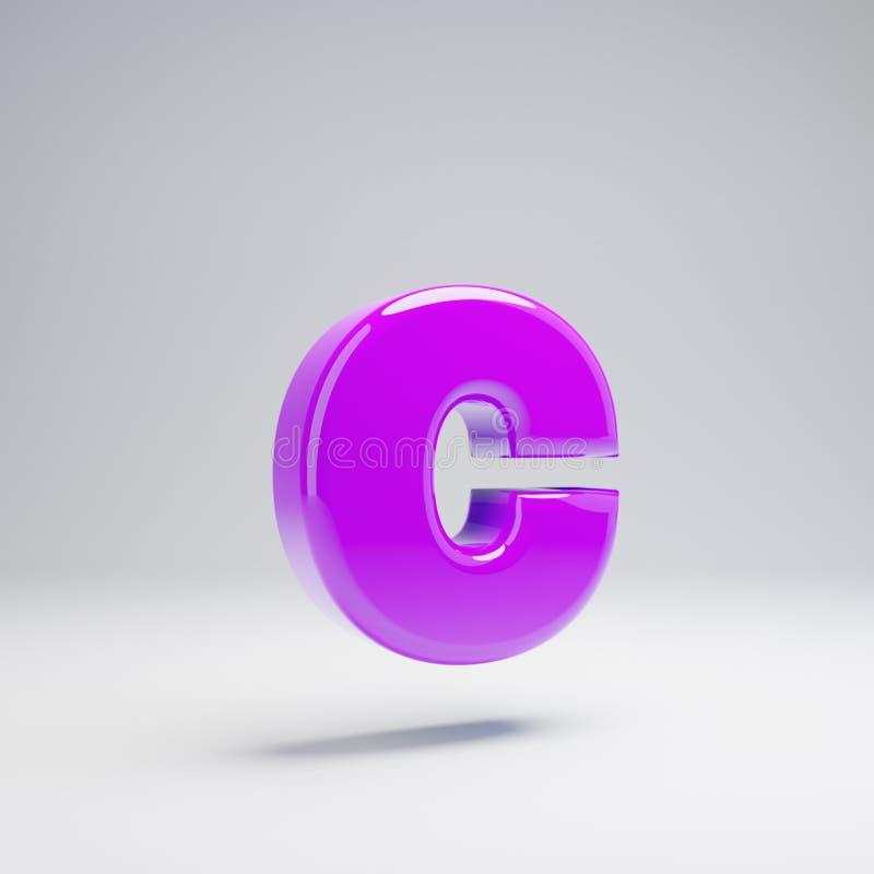 Volumetric glossy violet lowercase letter C isolated on white background. 3D rendered alphabet. Modern font for banner, poster, cover, logo design template vector illustration