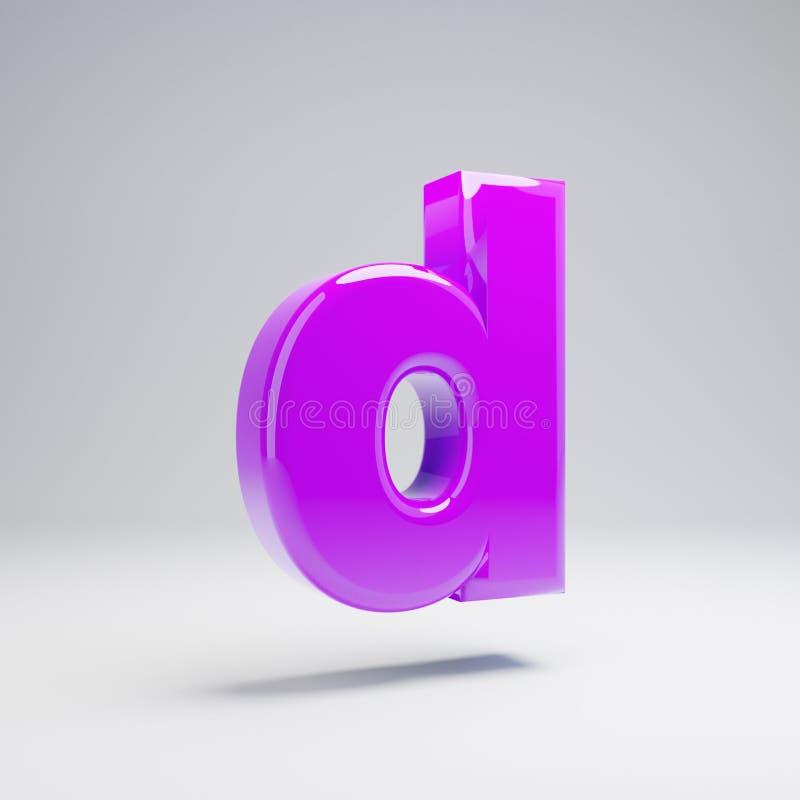 Volumetric glossy violet lowercase letter D isolated on white background. 3D rendered alphabet. Modern font for banner, poster, cover, logo design template royalty free illustration
