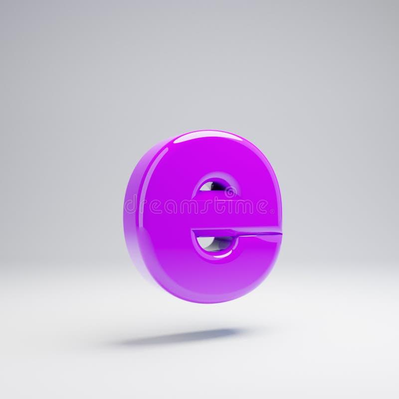 Volumetric glossy violet lowercase letter E isolated on white background. 3D rendered alphabet. Modern font for banner, poster, cover, logo design template vector illustration