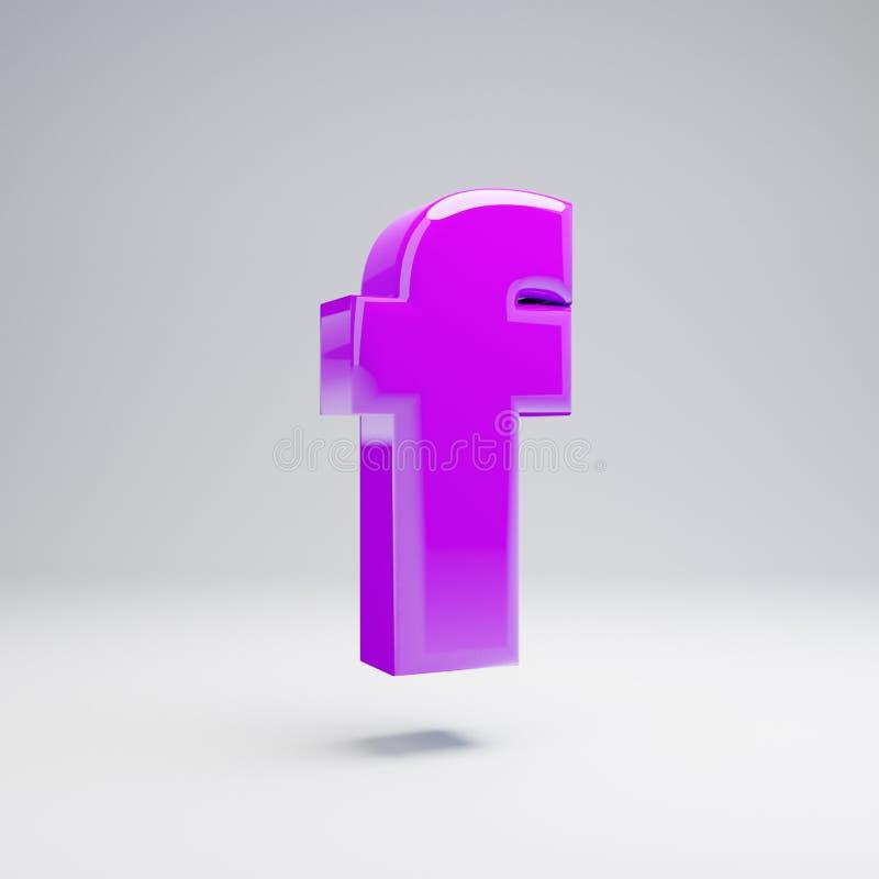 Volumetric glossy violet lowercase letter F isolated on white background. 3D rendered alphabet. Modern font for banner, poster, cover, logo design template stock illustration