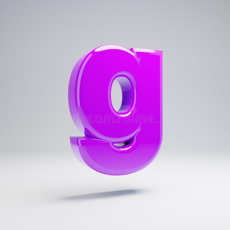 Volumetric glossy violet lowercase letter G isolated on white background. 3D rendered alphabet. Modern font for banner, poster, cover, logo design template stock illustration