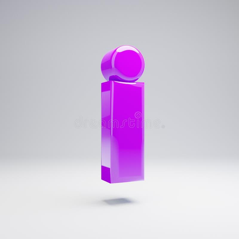 Volumetric glossy violet lowercase letter I isolated on white background. 3D rendered alphabet. Modern font for banner, poster, cover, logo design template stock illustration