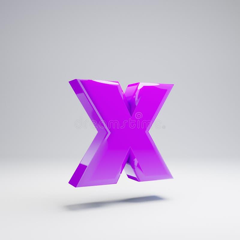 Volumetric glossy violet lowercase letter X isolated on white background. 3D rendered alphabet. Modern font for banner, poster, cover, logo design template stock illustration