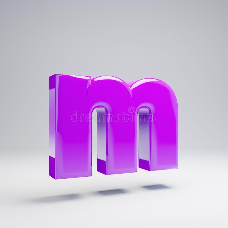 Volumetric glossy violet lowercase letter M isolated on white background. 3D rendered alphabet. Modern font for banner, poster, cover, logo design template royalty free illustration