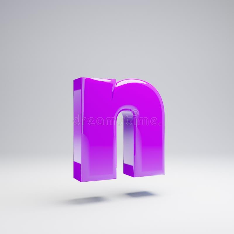 Volumetric glossy violet lowercase letter N isolated on white background. 3D rendered alphabet. Modern font for banner, poster, cover, logo design template vector illustration