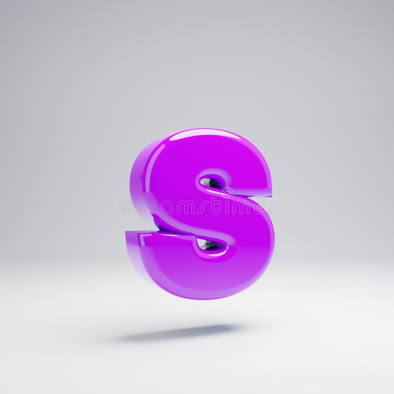 Volumetric glossy violet lowercase letter S isolated on white background. 3D rendered alphabet. Modern font for banner, poster, cover, logo design template royalty free illustration