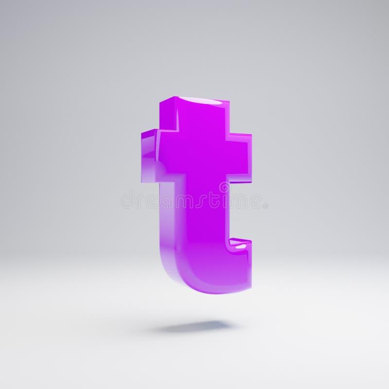 Volumetric glossy violet lowercase letter T isolated on white background. 3D rendered alphabet. Modern font for banner, poster, cover, logo design template vector illustration