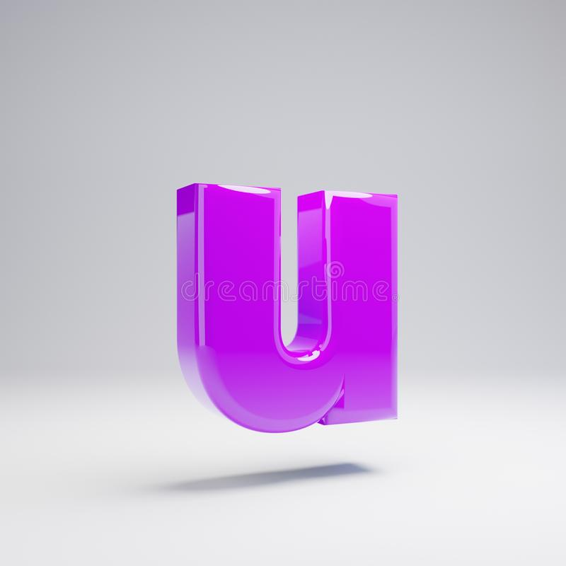 Volumetric glossy violet lowercase letter U isolated on white background. 3D rendered alphabet. Modern font for banner, poster, cover, logo design template stock illustration