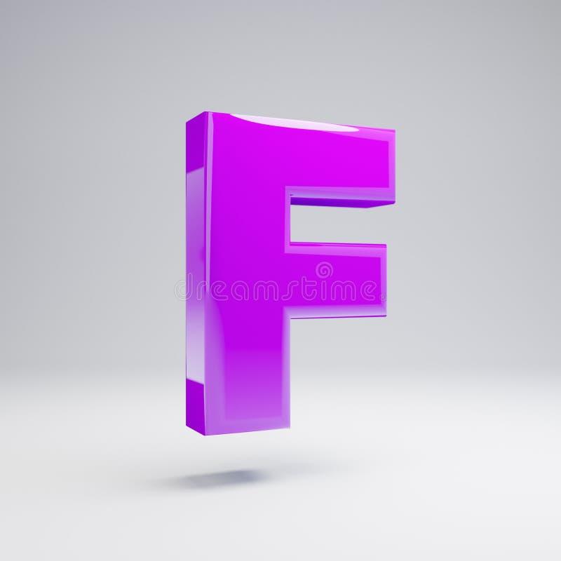 Volumetric glossy violet uppercase letter F isolated on white background. 3D rendered alphabet. Modern font for banner, poster, cover, logo design template stock illustration