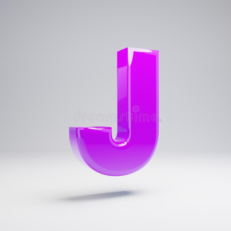 Volumetric glossy violet uppercase letter J isolated on white background royalty free illustration
