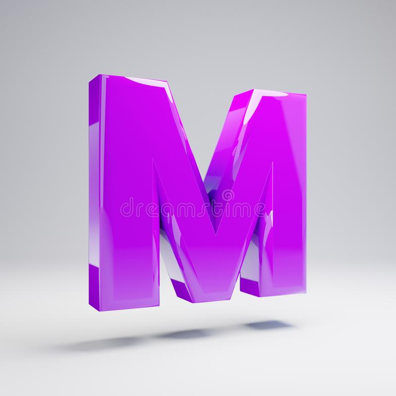 Volumetric glossy violet uppercase letter M isolated on white background stock illustration