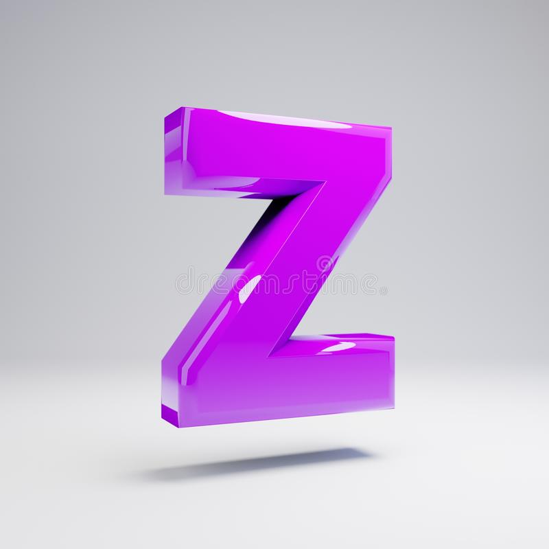 Volumetric glossy violet uppercase letter Z isolated on white background royalty free illustration