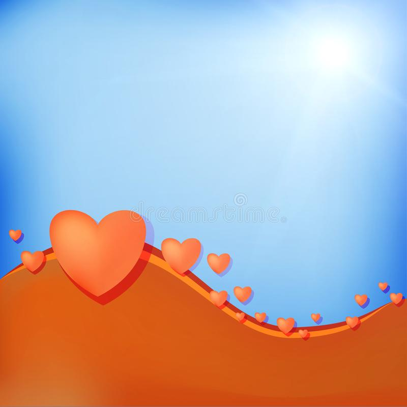 Volumetric hearts on a blue background, place under the inscription. Beautiful festive template royalty free illustration