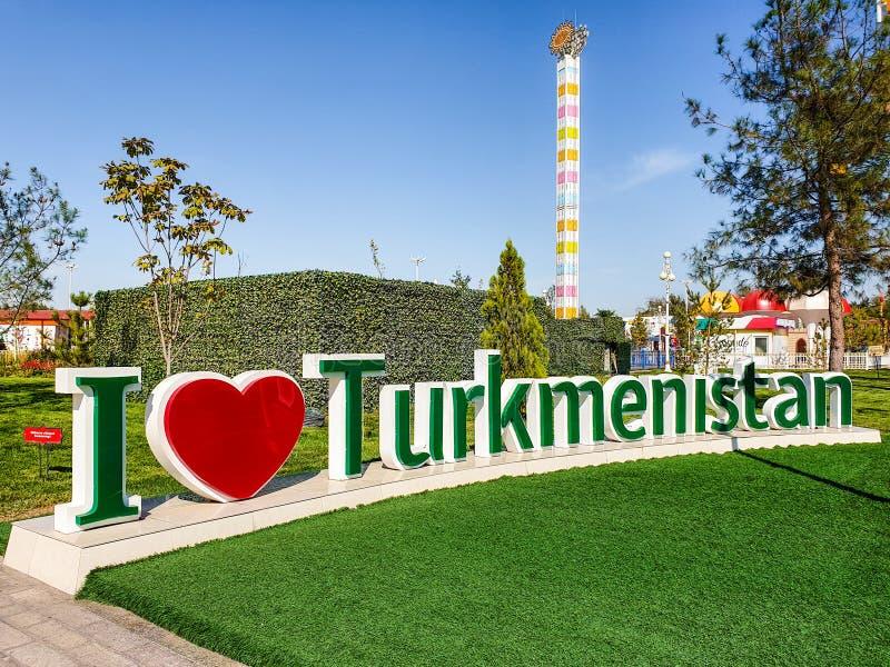 Volumetric inscription I love Turkmenistan. July 2019, Turkmenistan, Ashgabat. Volumetric inscription I love Tashkent, design of the streets of the city of stock images