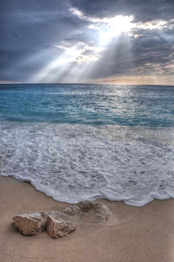 Volumetric light over Porto Katsiki beach,Lefkada royalty free stock photography