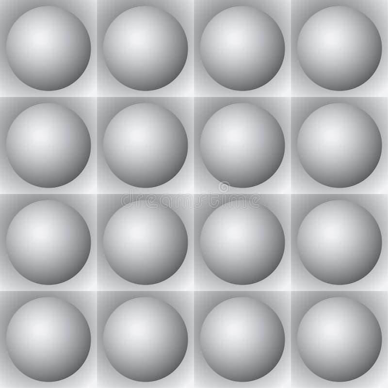 Volumetric pattern - gray spheres and squares stock illustration