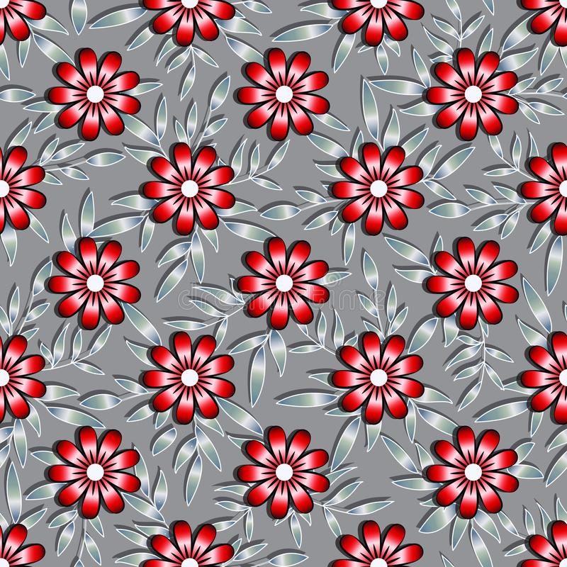 Volumetric seamless floral 3d pattern. Large red-burgundy with black flowers, light twigs with silver-gray leaves, gradient, vector illustration