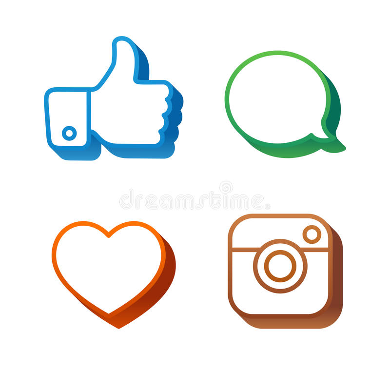 Volumetric Social Icons and Stickers stock illustration