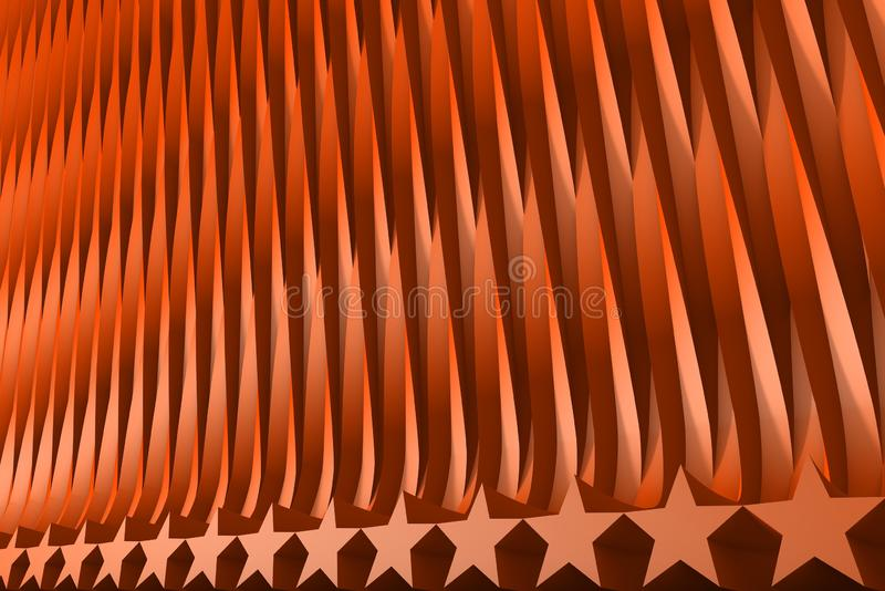 Rendered red 3D Illustration of abstract background - geometric surfaces formed with extruded star shape, xmas or veterans day. Volumetric surfaces formed with stock illustration