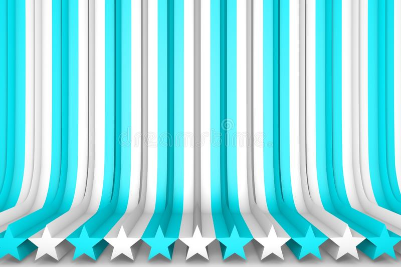 Beautiful light blue 3D Illustration of abstract background - volumetric surfaces formed with extruded star shape, christmass or royalty free illustration