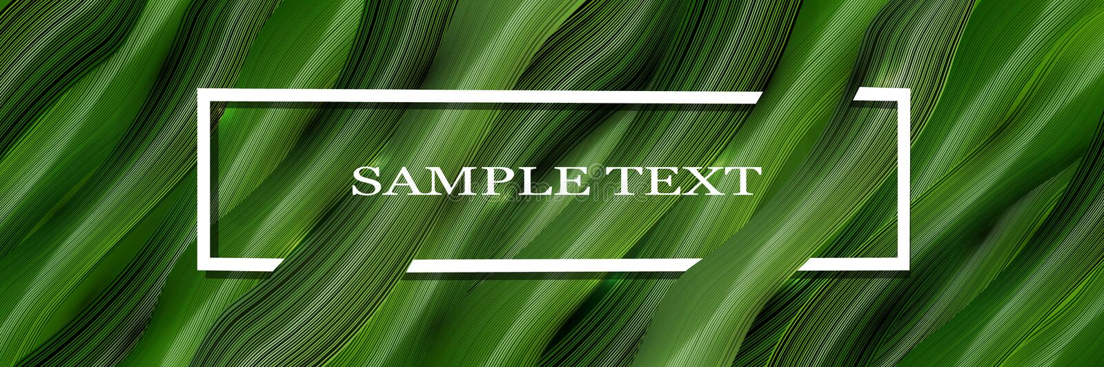 Volumetric, vector, 3d green background with text and leaves in the style of realism. vector graphics. Volumetric, vector, green background of realistic 3D stock illustration