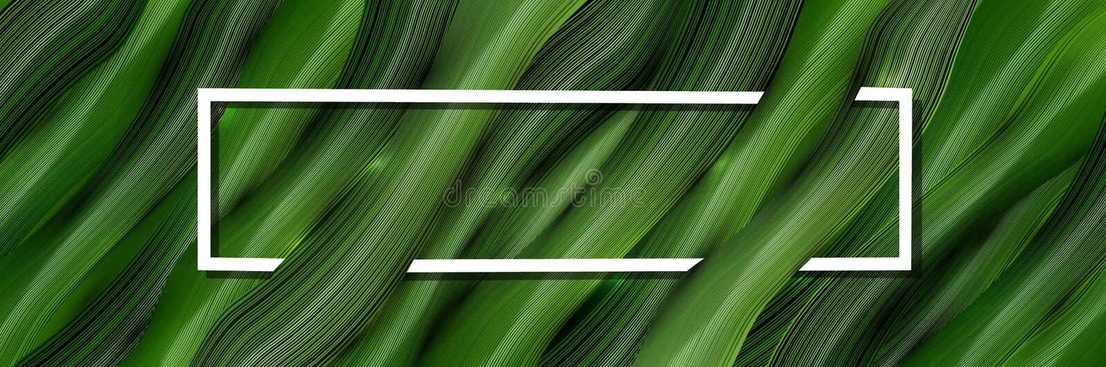 Three-dimensional, vector, 3d green background of green branches. frame for text with tropical leaves in the style of realism. Volumetric, vector, green vector illustration