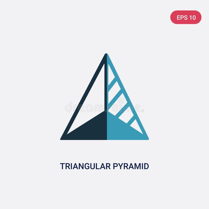 Volumetrical de vorm vectorpictogram van de twee kleuren driehoekig piramide van vormenconcept geïsoleerde blauwe driehoekige vol stock illustratie