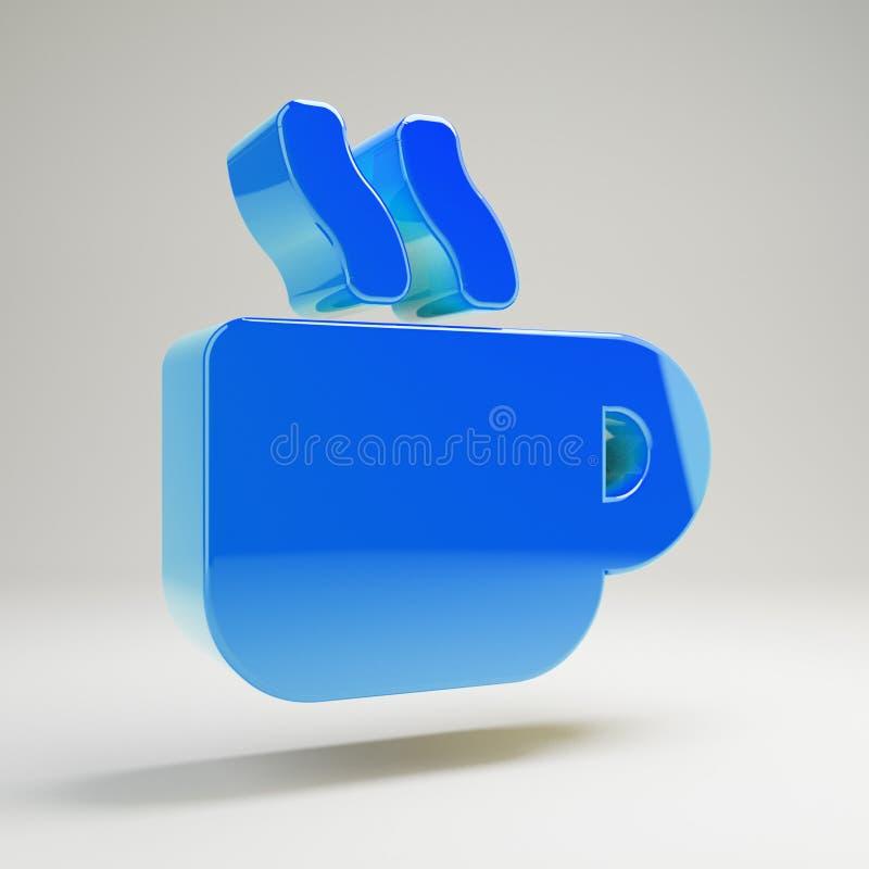 Volumetrisch glanzend blauw Mok Heet die pictogram op witte achtergrond wordt geïsoleerd stock illustratie